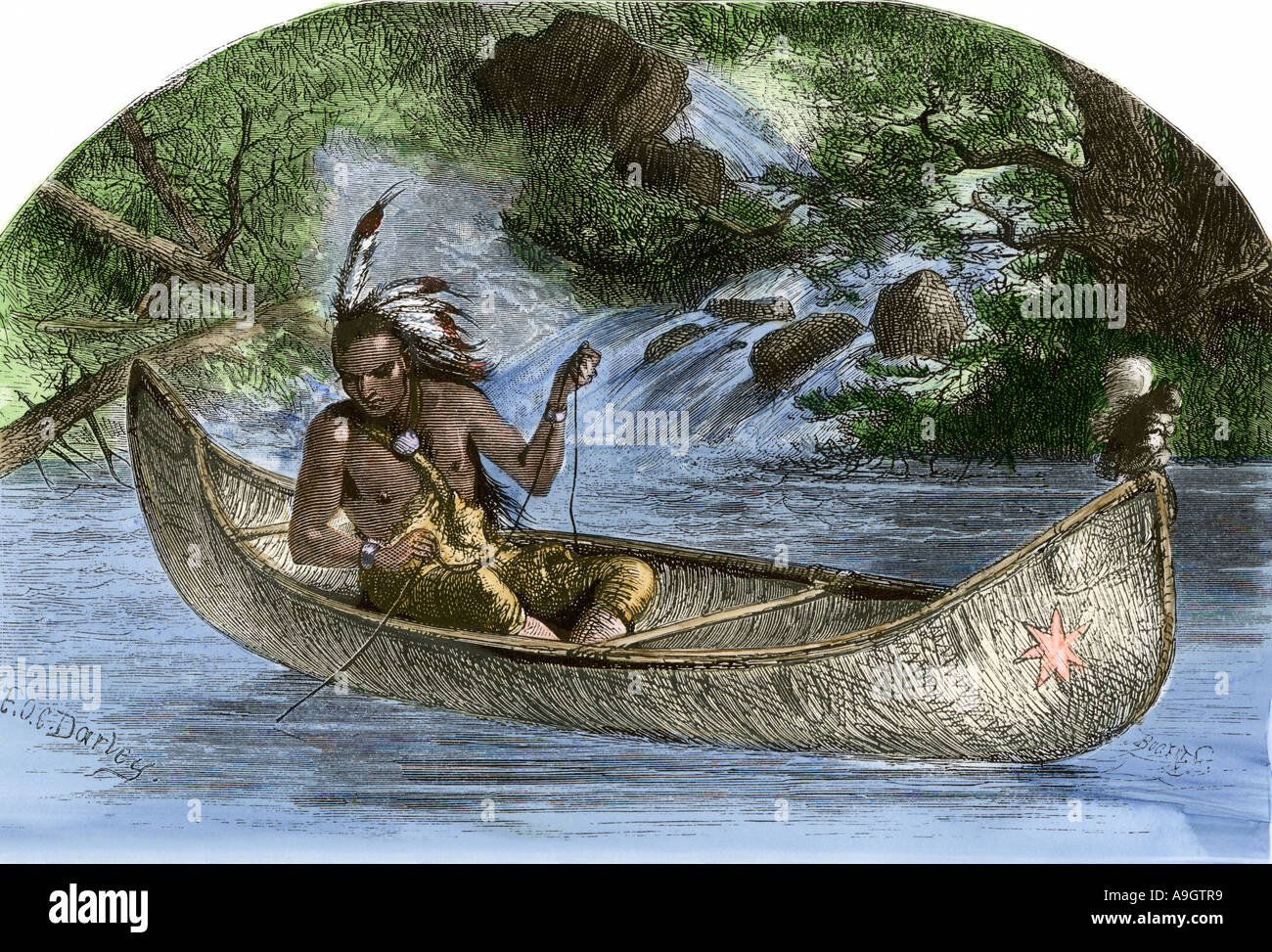 El legendario jefe indígena americano Hiawatha la pesca desde una canoa. Xilografía coloreada a mano Foto de stock