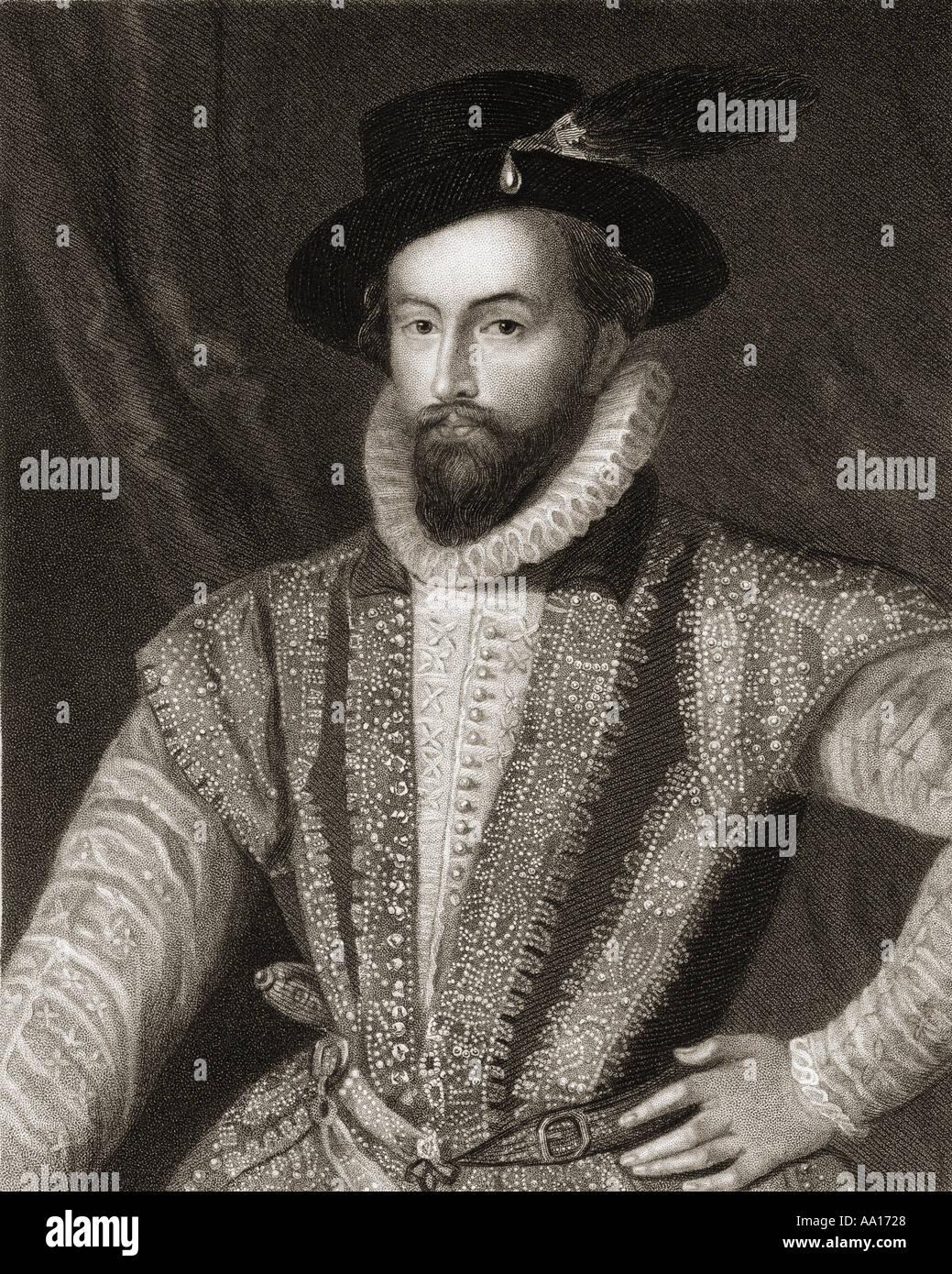 Sir Walter Raleigh, c 1554 - 1618. Inglés aterrizó caballero, escritor, poeta, soldado, político, cortesano, espía Foto de stock