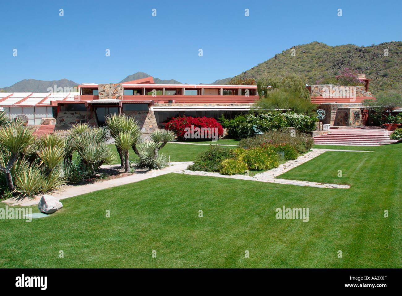 Taliesin Oeste arquitecto Frank Lloyd Wright s Studio y hogar Scottsdale, Arizona La construcción empezó Imagen De Stock