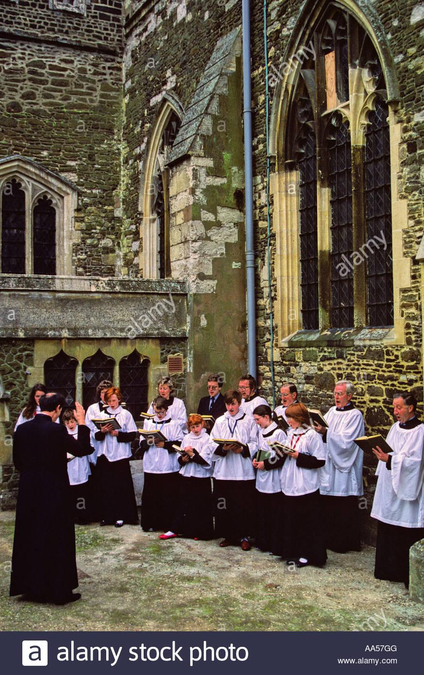 El coro de la iglesia parroquial, Leighton Buzzard, camas Foto de stock