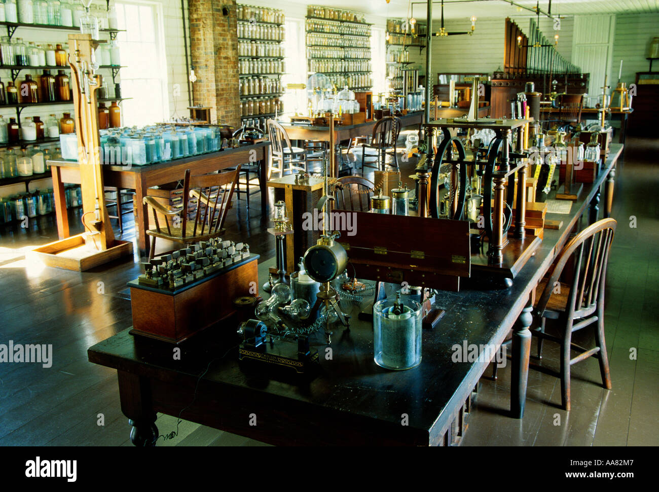 Thomas Edison Laboratorio de Menlo Park replicados en el Henry Ford, Greenfield Village, Dearborn, Michigan, EE.UU. Foto de stock