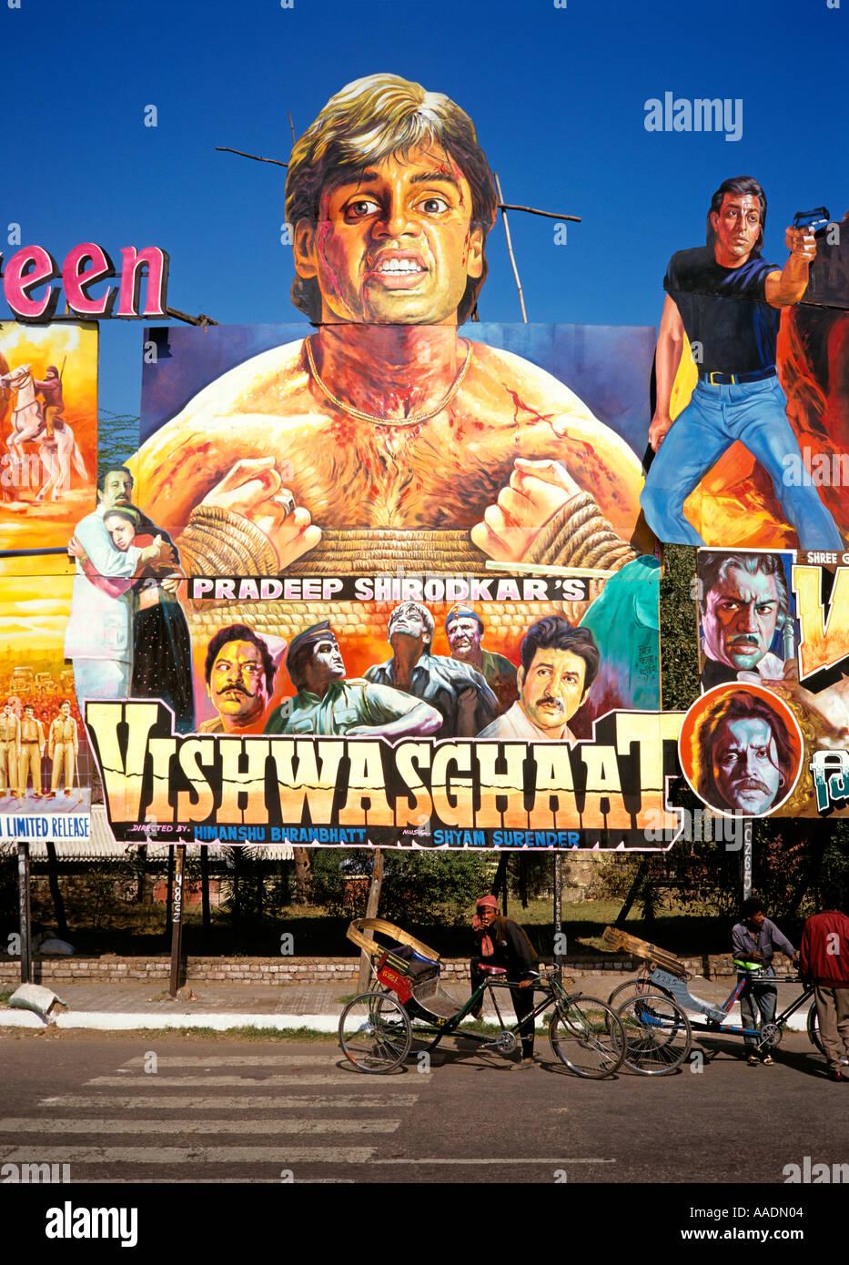 La India Vieja Delhi gigantescos carteles de cine sobre Netaji Subhash Imagen De Stock