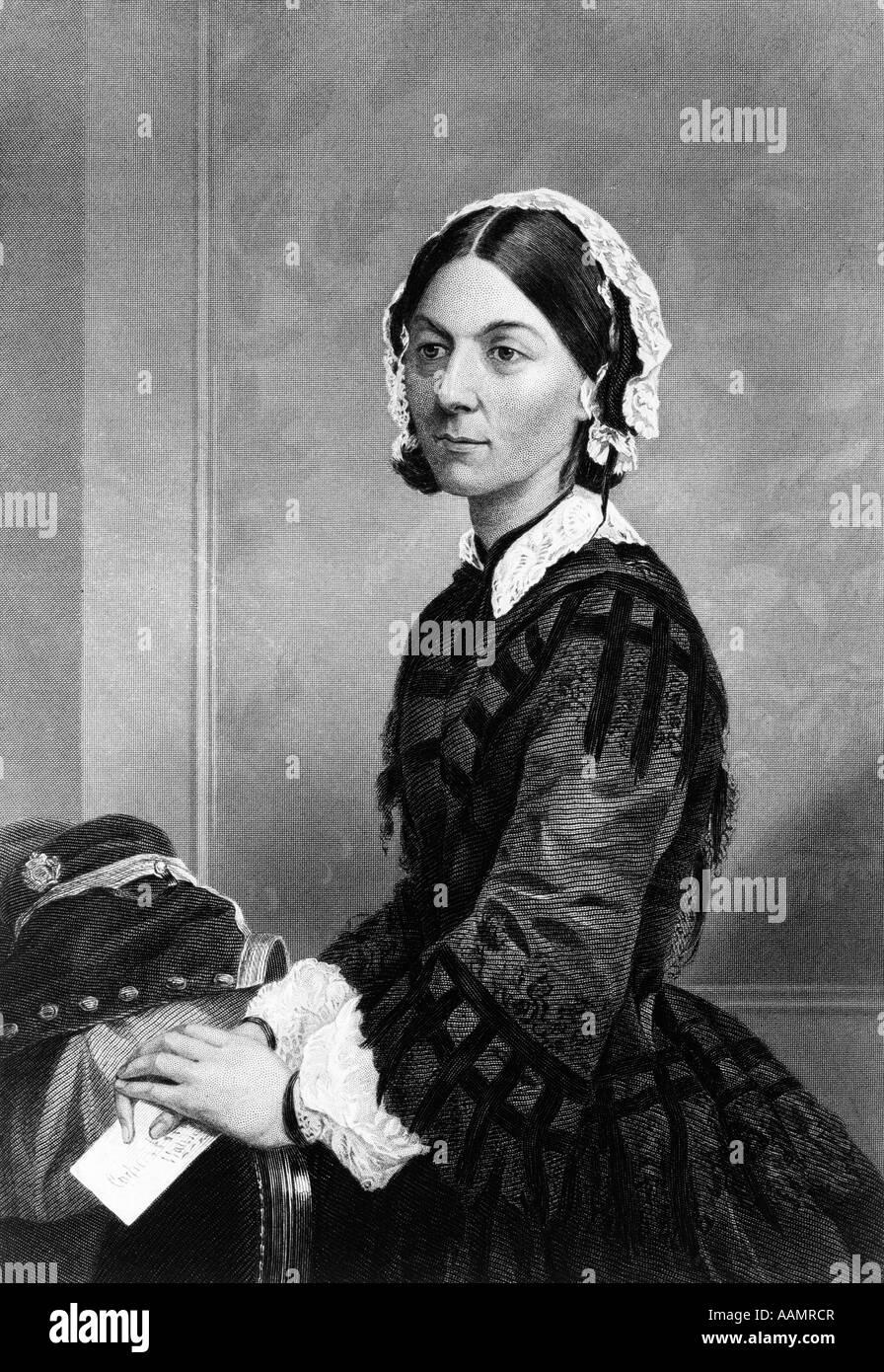 1800 Retrato de 1870 Florence Nightingale, enfermera británica fundadora de la enfermería moderna durante Imagen De Stock