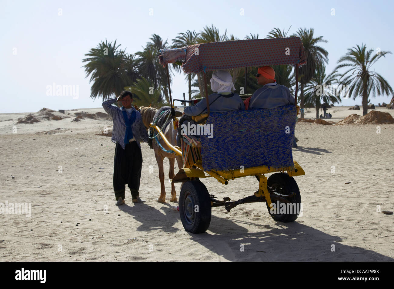 Dos turistas esperan en un carruaje tirado por caballos cerca de un oasis para un viaje al desierto del Sahara en Imagen De Stock