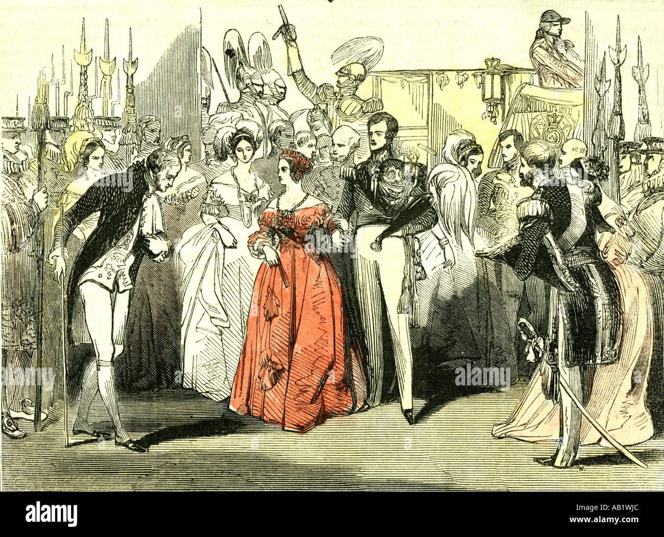 Queens, visita a la Casa de la Ópera de 1846 Londres Imagen De Stock