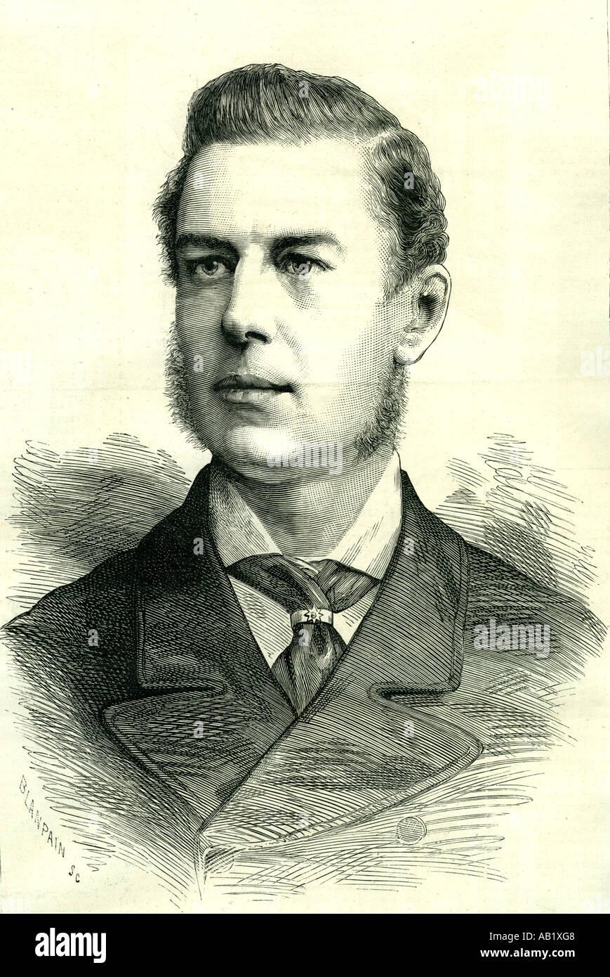 Joseph Chamberlain 1885 U K estadista liberal attracking mucha atención nacido 1836 Imagen De Stock