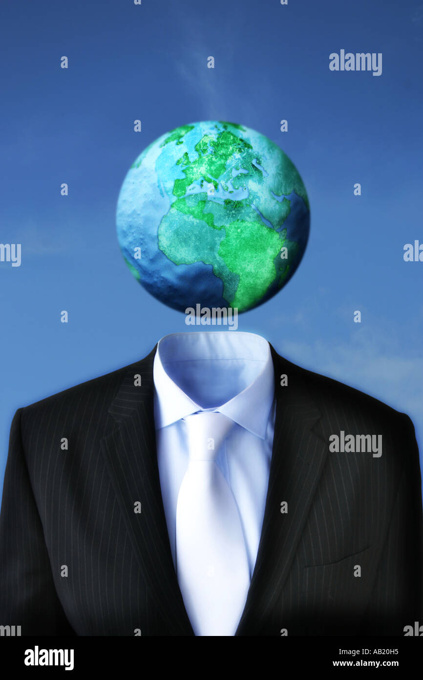 Mundo encima de un traje de negocios Imagen De Stock