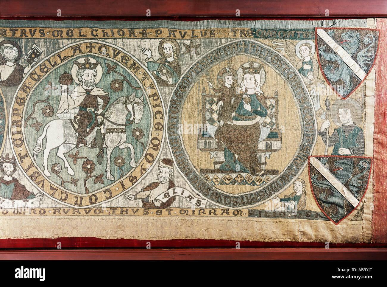 Bellas artes, arte religioso, Jesucristo, la adoración de los magos, bordados, antependia, parte izquierda, bordados, Foto de stock