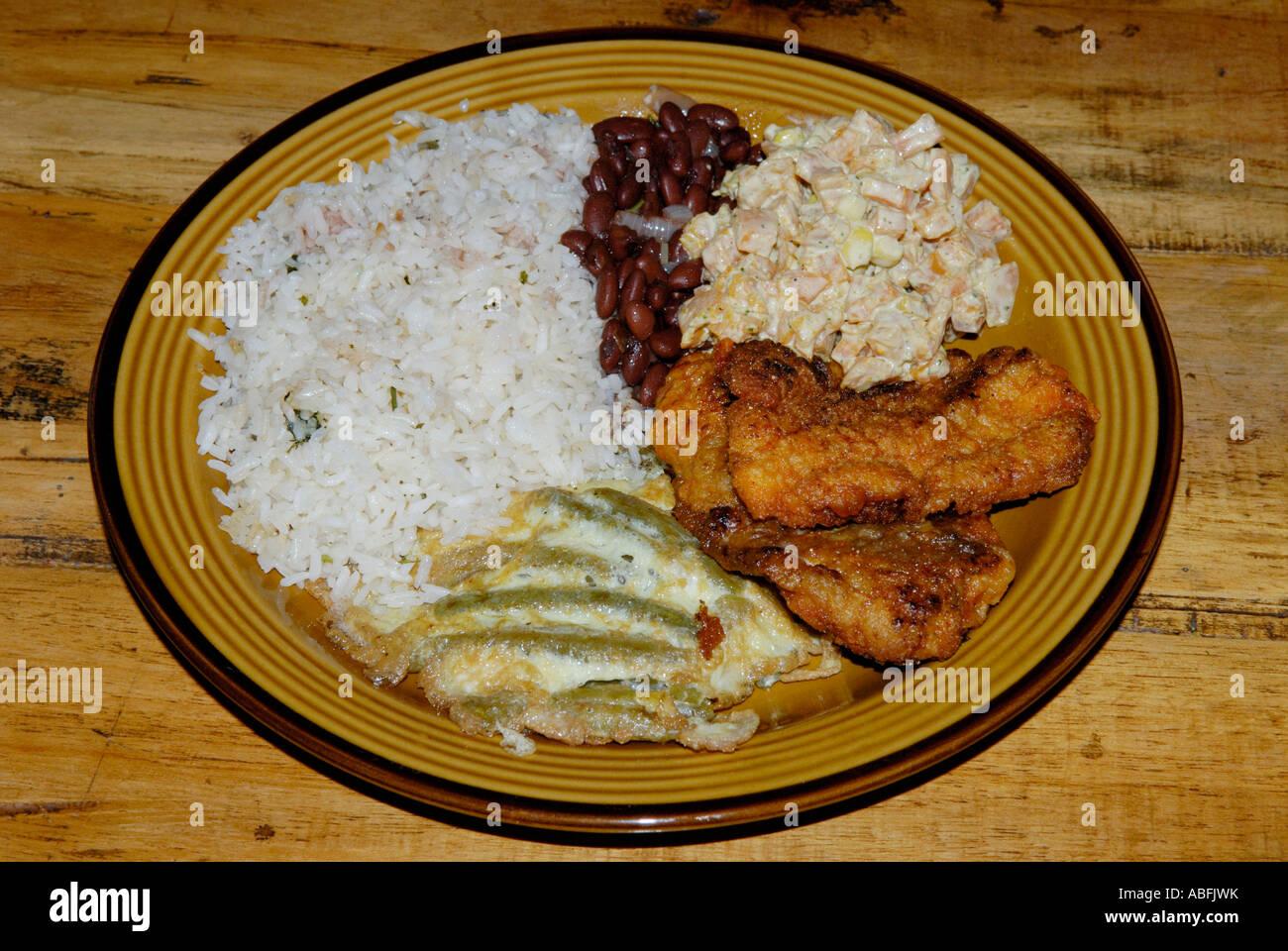 Comidas típicas costarricenses, comida tipica. Carne, verduras, arroz y frijoles (gallo pinto) Foto de stock