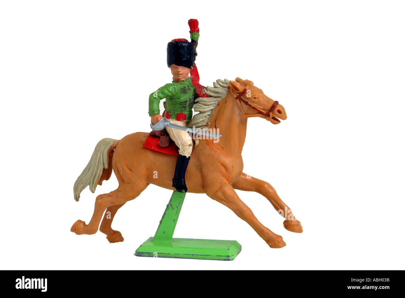Toy Soldier cavalryman prusiano desde Waterloo era Imagen De Stock