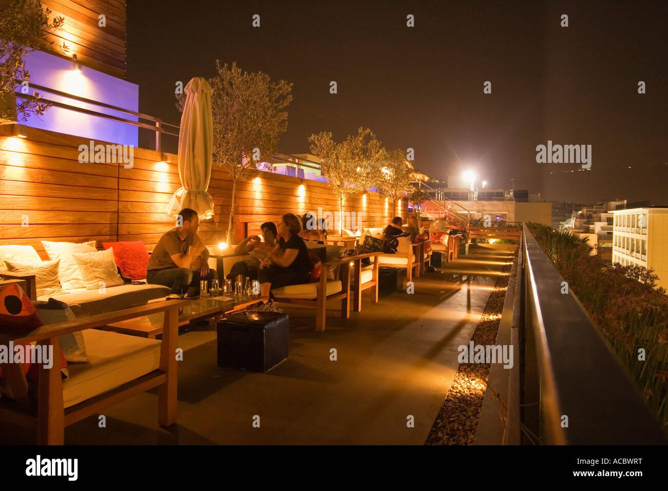 Atenas Hotel Fresh Lounge En La Terraza Por La Noche Foto