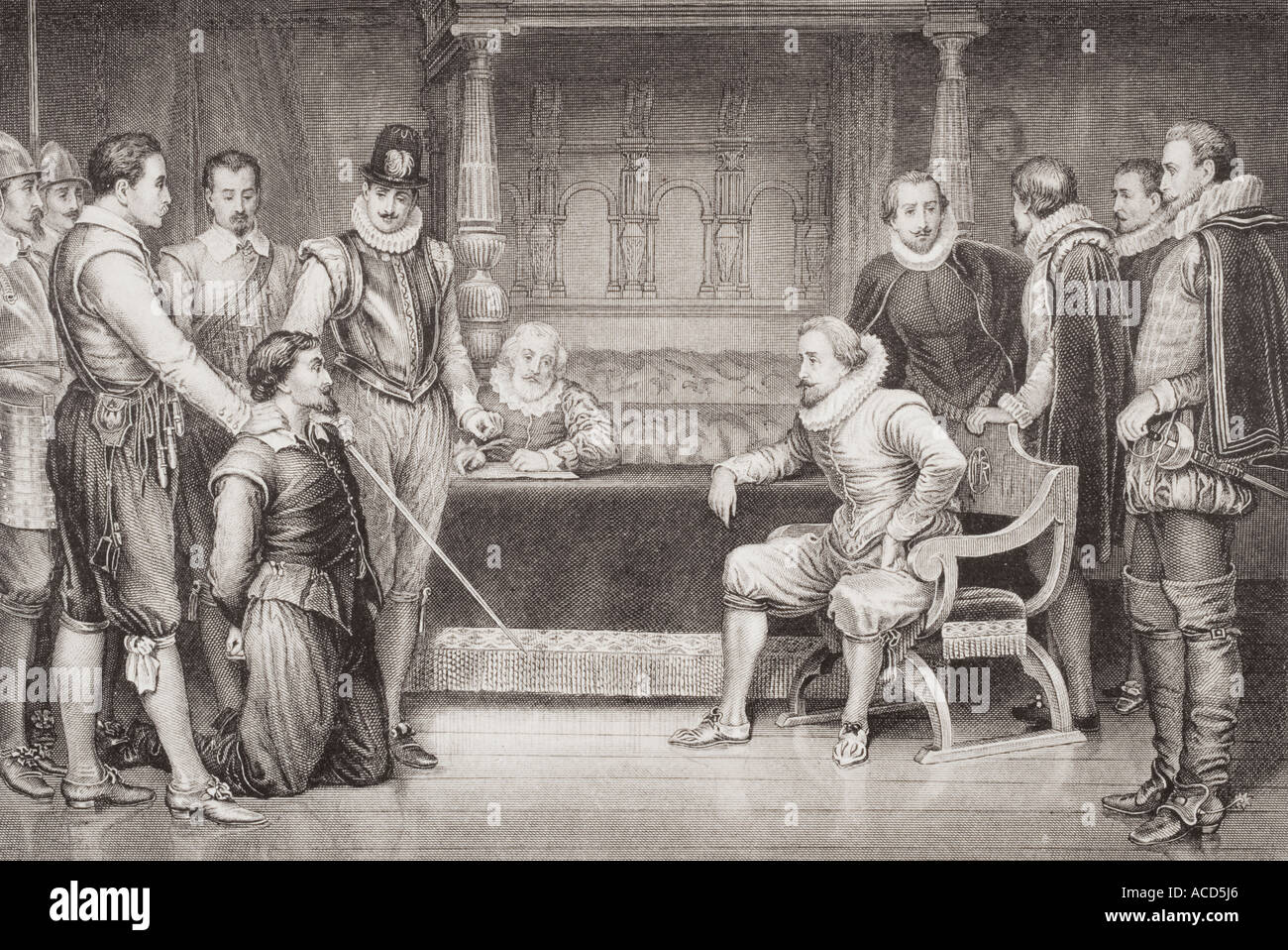 La Pólvora Parcela Guy Fawkes interrogados por Jaime I Imagen De Stock