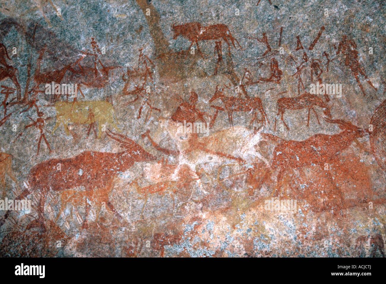 El arte rupestre de los san, Nswatugi, Matopos, Imagen De Stock