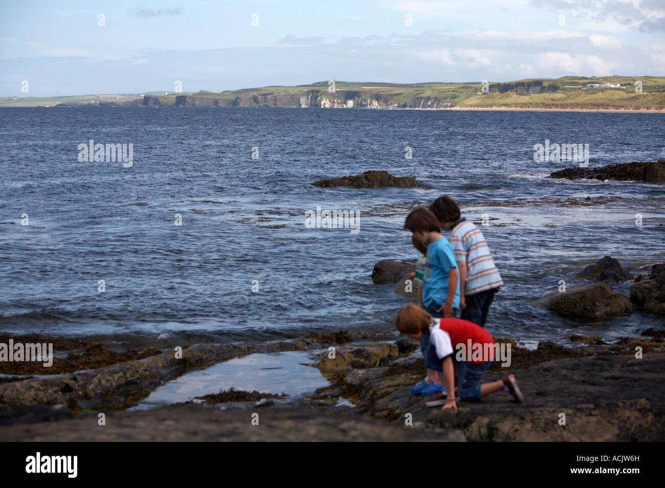 Un grupo de cuatro muchachos jóvenes que buscan en un estanque de rocas en la costa rockly en Portrush Irlanda Imagen De Stock