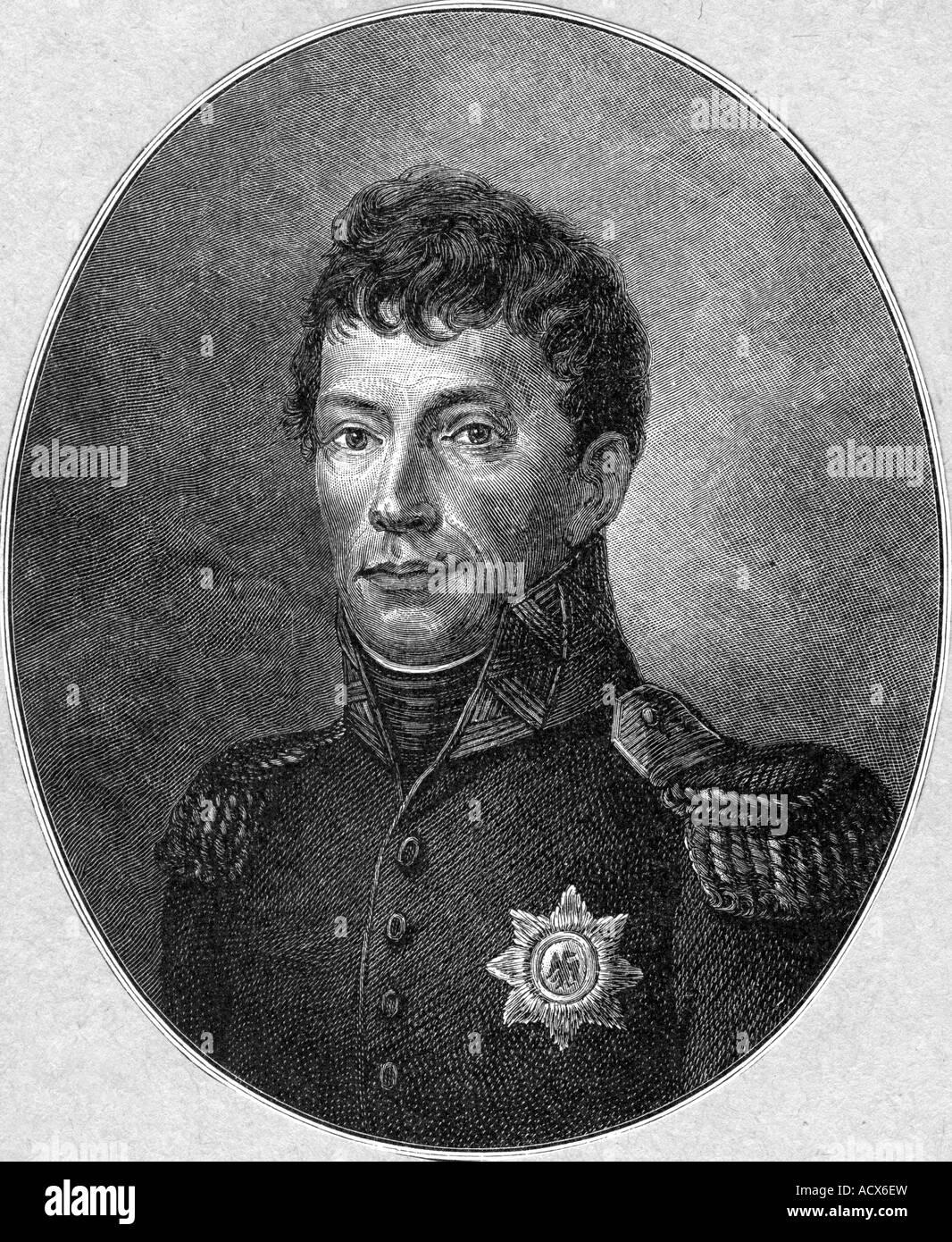 Guillermo I, 24.8.1772 - 12.12.1843, Rey de los Países Bajos 16.3.1814 - 7.10.1840, retrato, grabado por W. Imagen De Stock