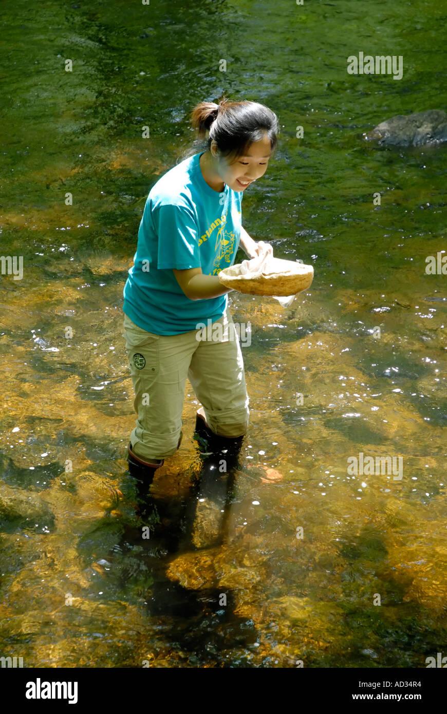 Adolescente asiático utilizando net el muestreo de agua del río para peces e invertebrados indicadores biológicos de calidad del agua. Imagen De Stock