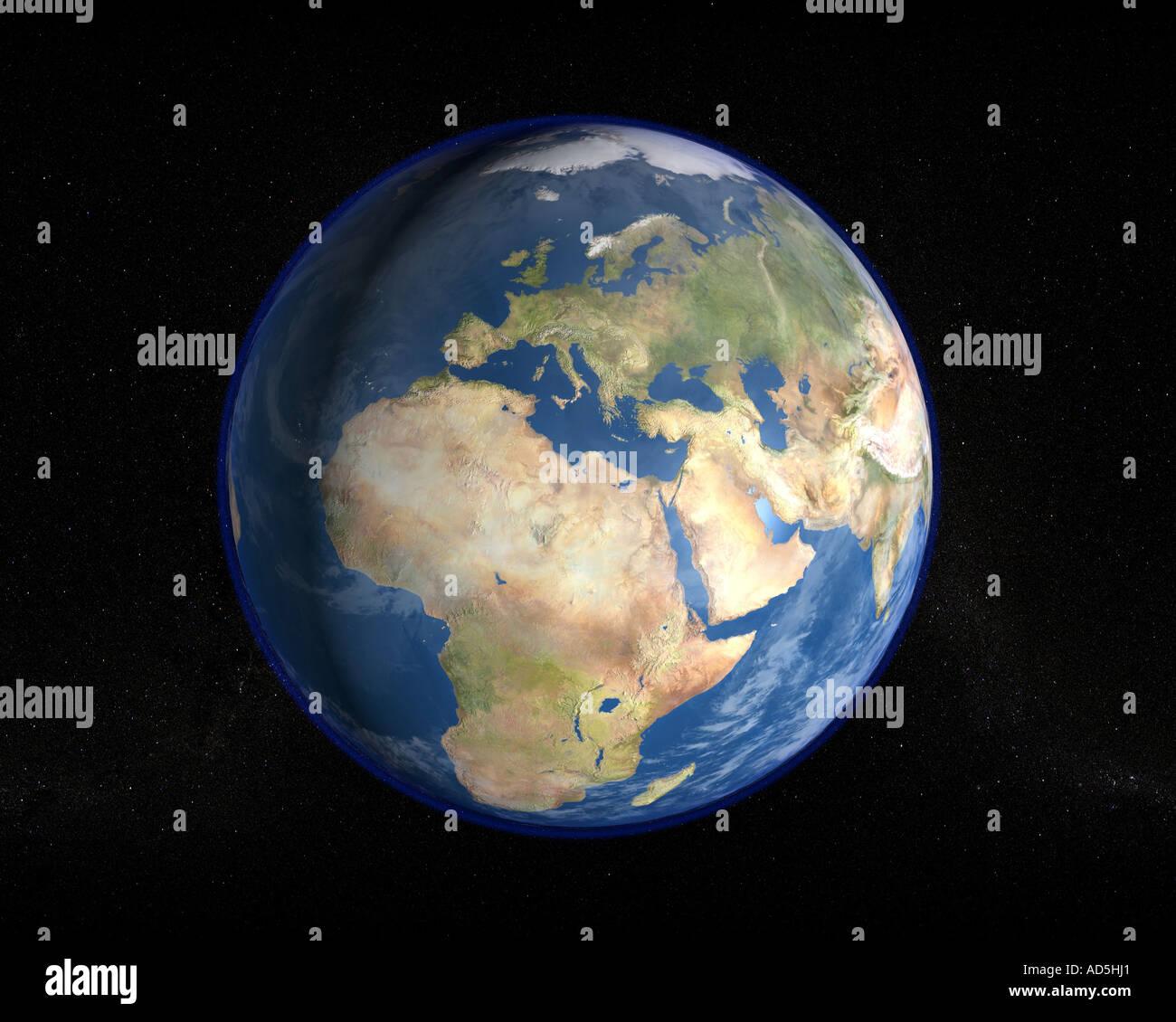 El planeta Tierra como se ve desde el espacio en una imagen renderizada fotorrealistas en alta resolución Imagen De Stock