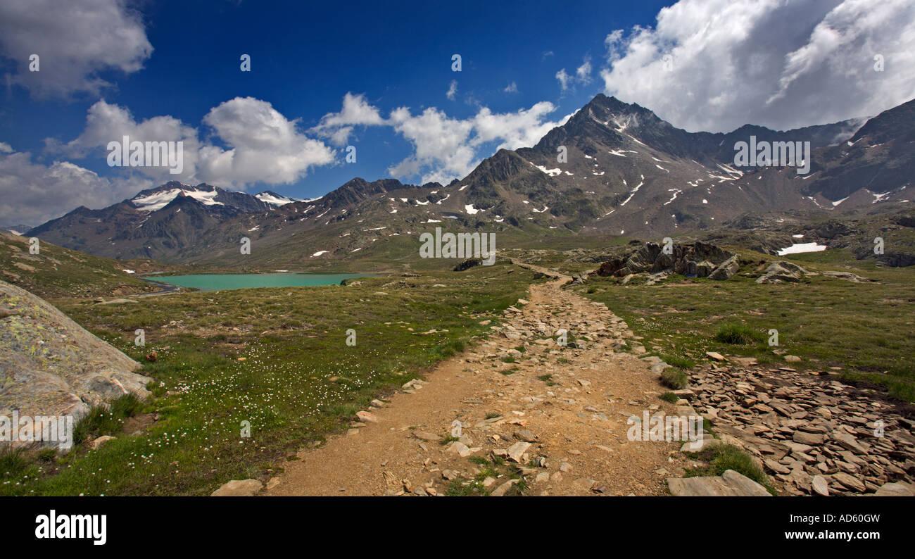 Tre Signori en Gavia Pass, Alpes, Italia Foto de stock