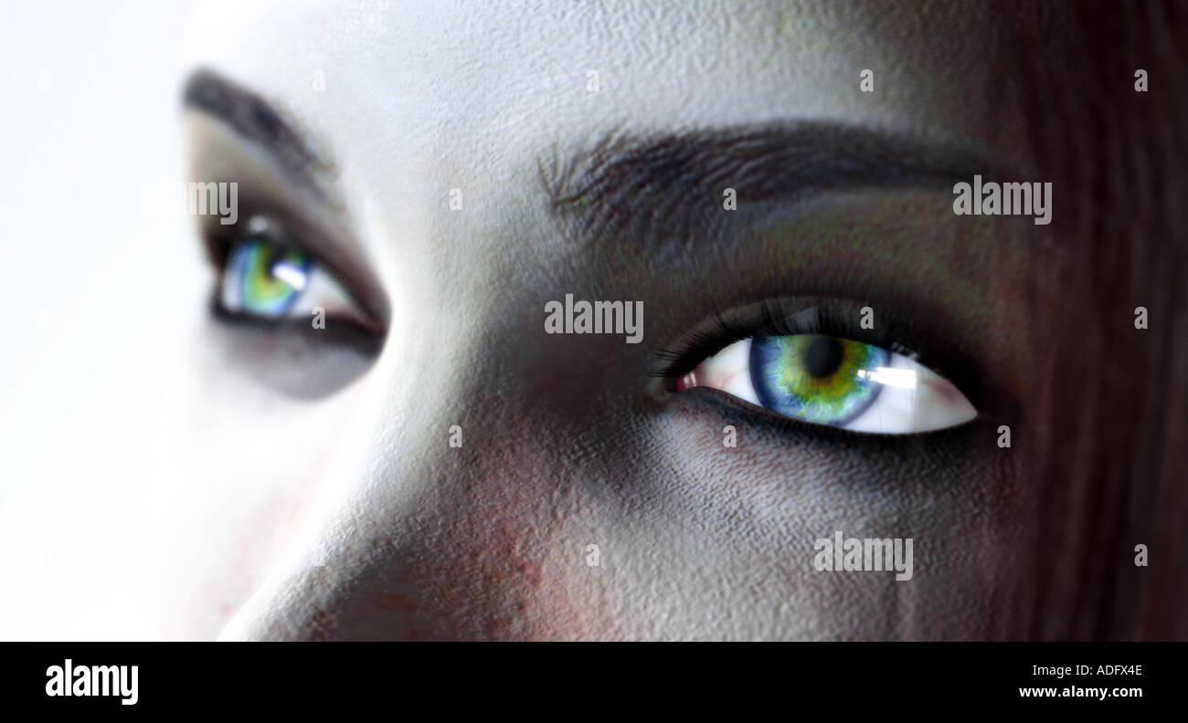 Una mujer a los ojos de la ilustración 3d Imagen De Stock