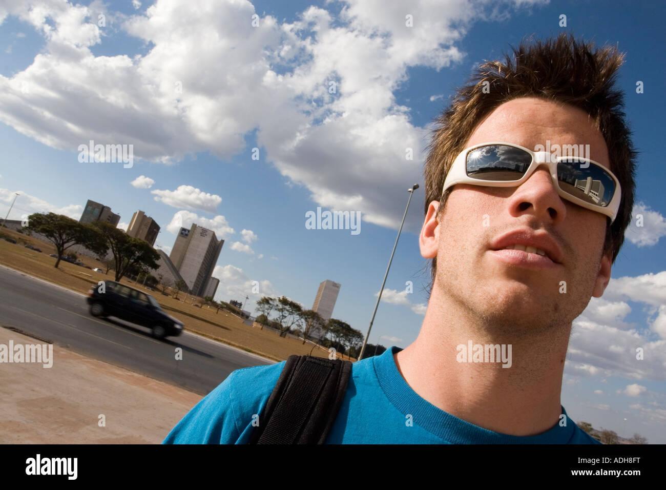 Turista europeo en Brasilia Foto de stock