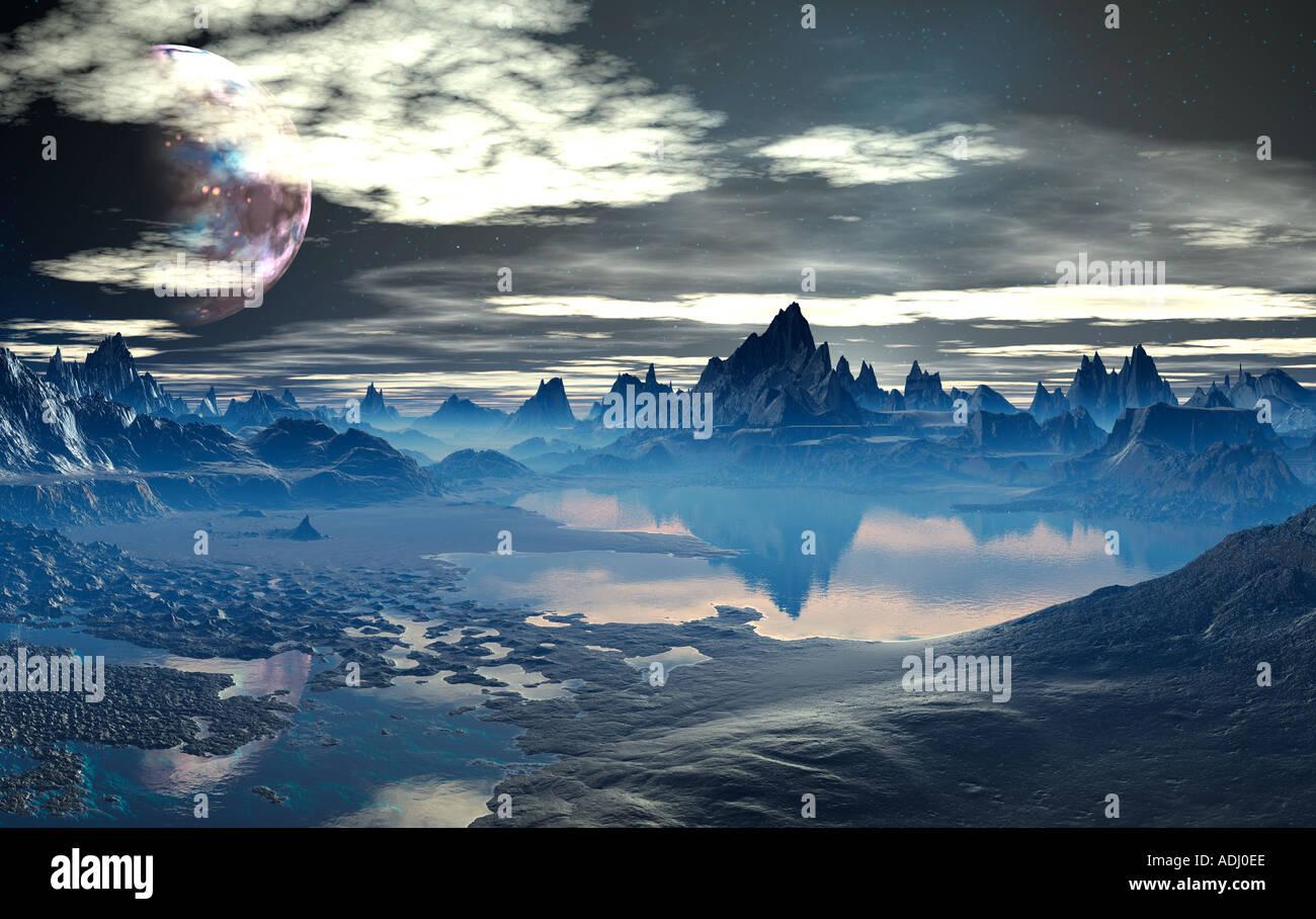 Lago entre montañas spikey al atardecer 3D generada por ordenador mundo sci fi Imagen De Stock