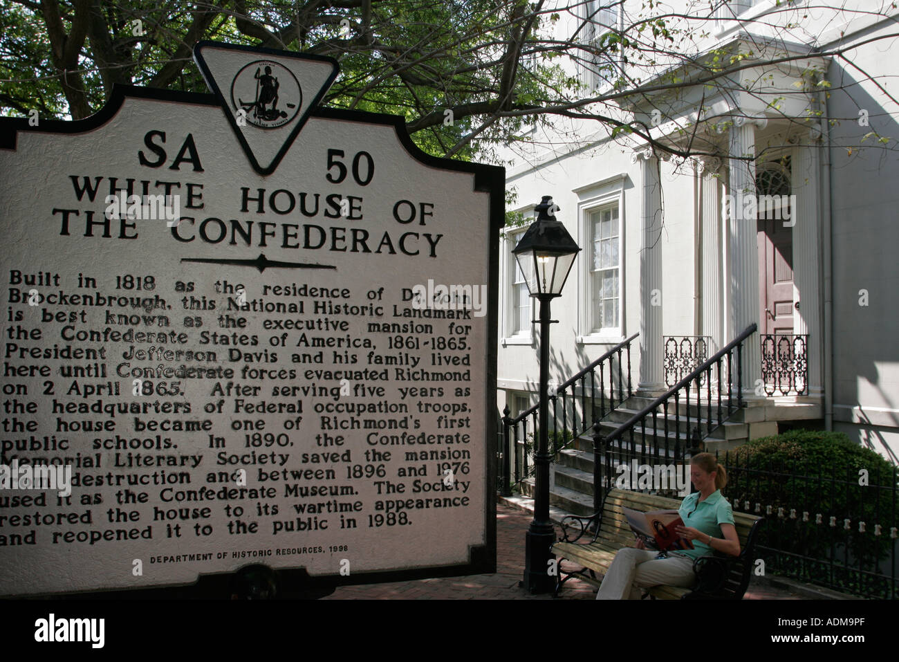 Richmond, Virginia Casa Blanca de la Confederación construyó 1818 Guerra Civil Foto de stock