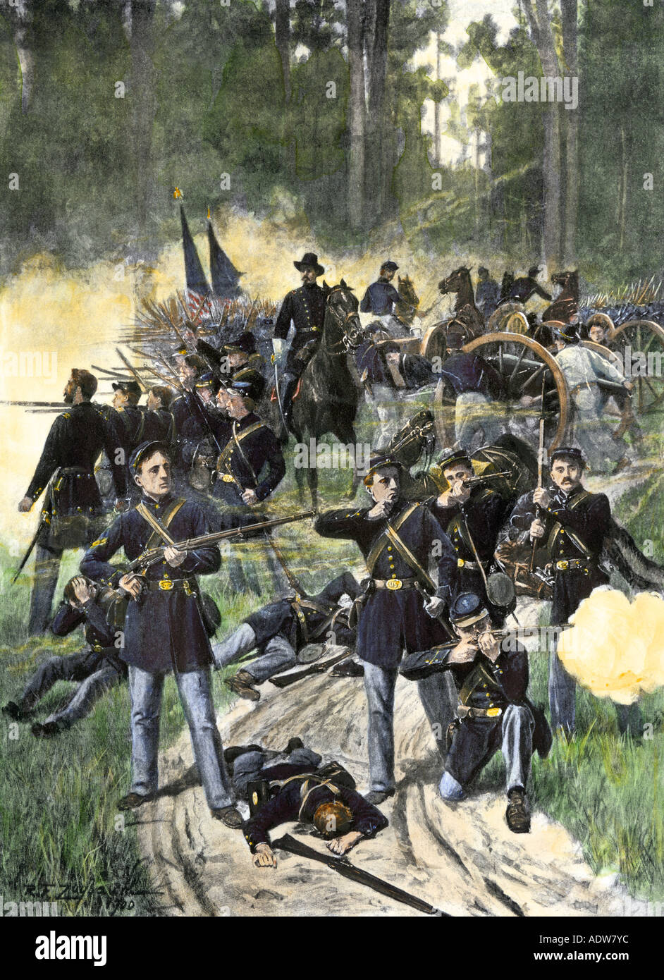 Los soldados Union metida en Gaines Mill en la batalla de Cold Harbor, Virginia, la Guerra Civil Americana, 27 de junio de 1862. Medias tintas coloreadas a mano de una ilustración Imagen De Stock