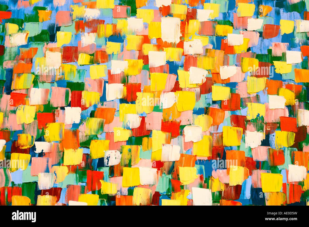 Pintura al óleo psicodélico abstracta en brillantes colores amarillo Imagen De Stock