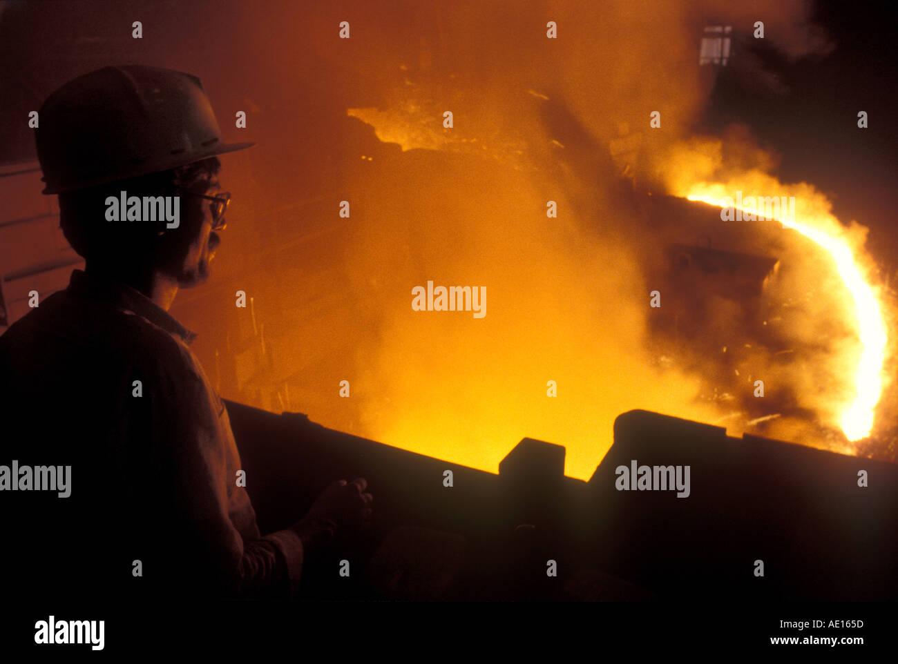 En hornos de acero Acero vela Autoridad de India Ltd planta Bokaro Jharkhand India Foto de stock