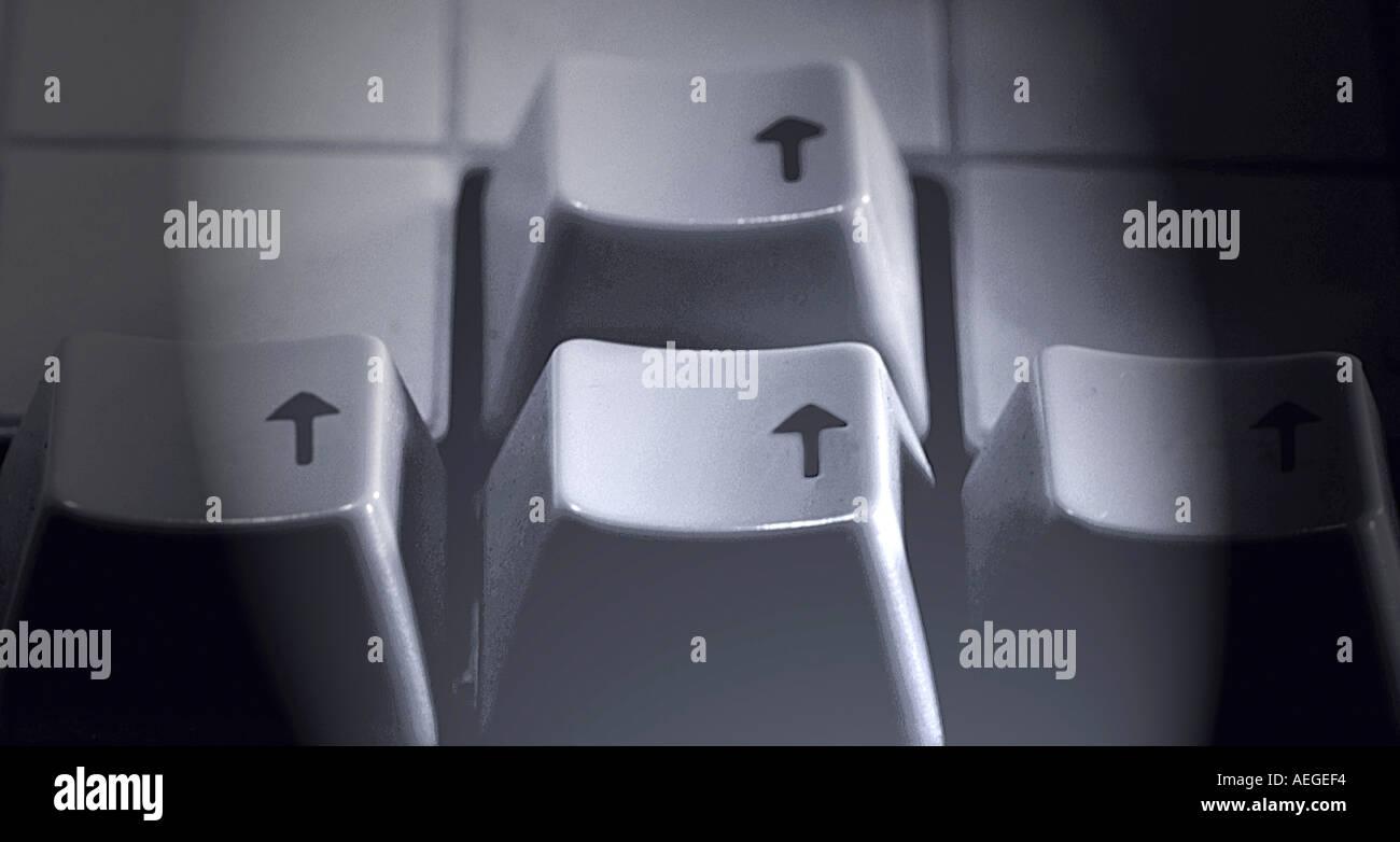 Teclas de flecha eyboard oficina negro blanco b w vignette dirección conceptual tecnología de computación Imagen De Stock