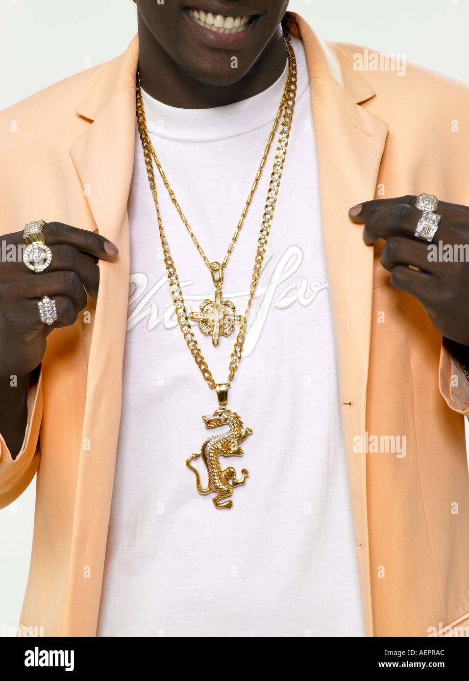 Cofre Bling rap con joyas del artista. Imagen De Stock