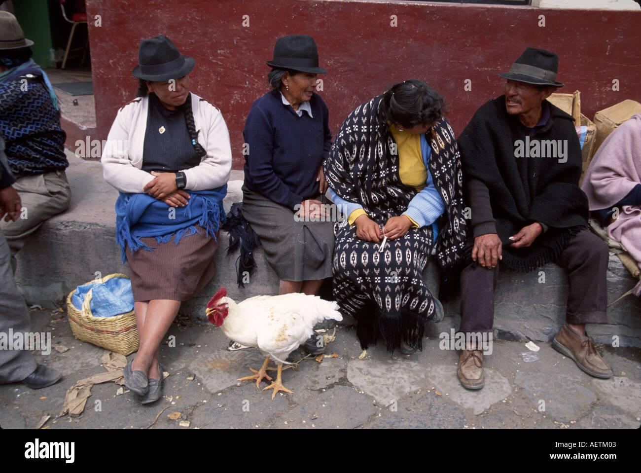 Mercado de Saquisilí Ecuador Otavalo Cotopaxi Chibuleos indígenas mujer  hombre pollo sombreros Imagen De Stock 6c1026d005f