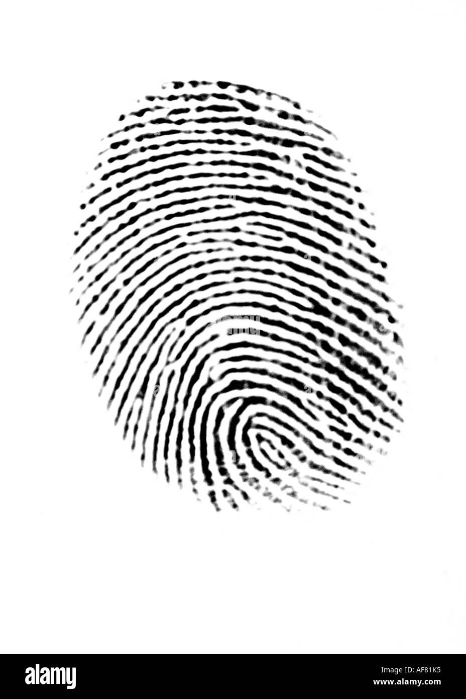 Una evidencia de huellas digitales y datos biométricos concepto Imagen De Stock