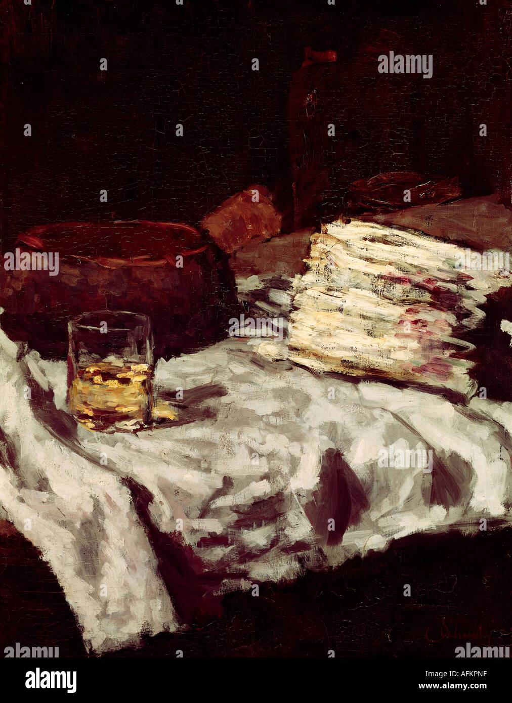"""Bellas Artes, Carl Schuch, (30.9.1846 - 13.9.1903), pintura, 'Stillleben mit Spargel', circa 1885, óleo sobre lienzo, 63x79 cm, Ne Imagen De Stock"
