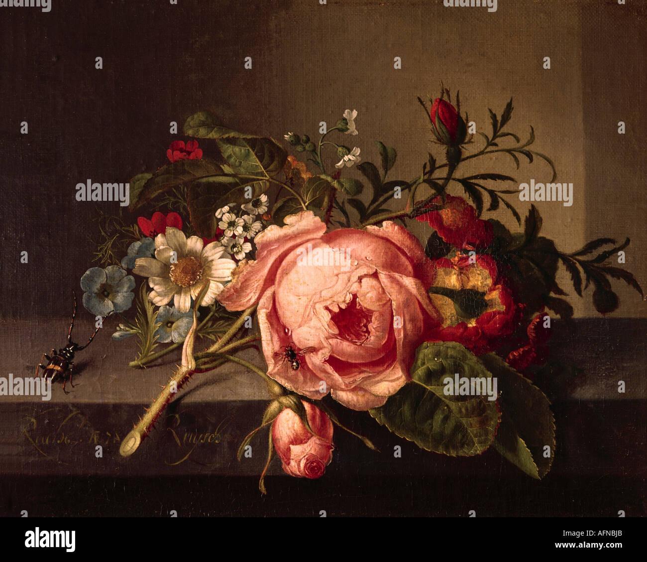 """""""Bellas Artes, Rachel Ruysch (1664 - 12.8.1750), pintura, 'Rosenzweig mit Käfer und Biene', Öffentliche museo Kunstsammlung, Basilea, Imagen De Stock"""