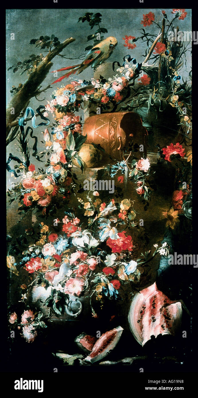 """Bellas artes, still life, 'Trifono floreale con vasi, recipiente di rame, anguria e pappagallo"""", pintura de 1785, Pseudo Guardi, óleo sobre tela, colección privada, los derechos de autor del artista no ha de ser borrado Imagen De Stock"""