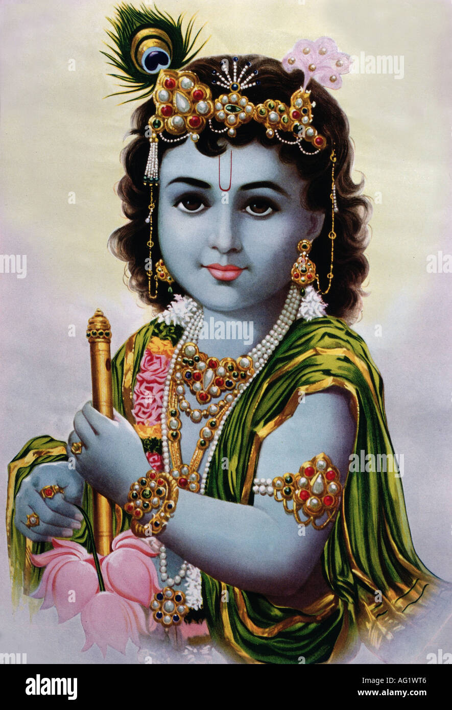 Krishna, la deidad hindú, la octava encarnación de Vishnu, retrato, pintura, siglo xx, India , Additional-Rights-juegos-NA Imagen De Stock