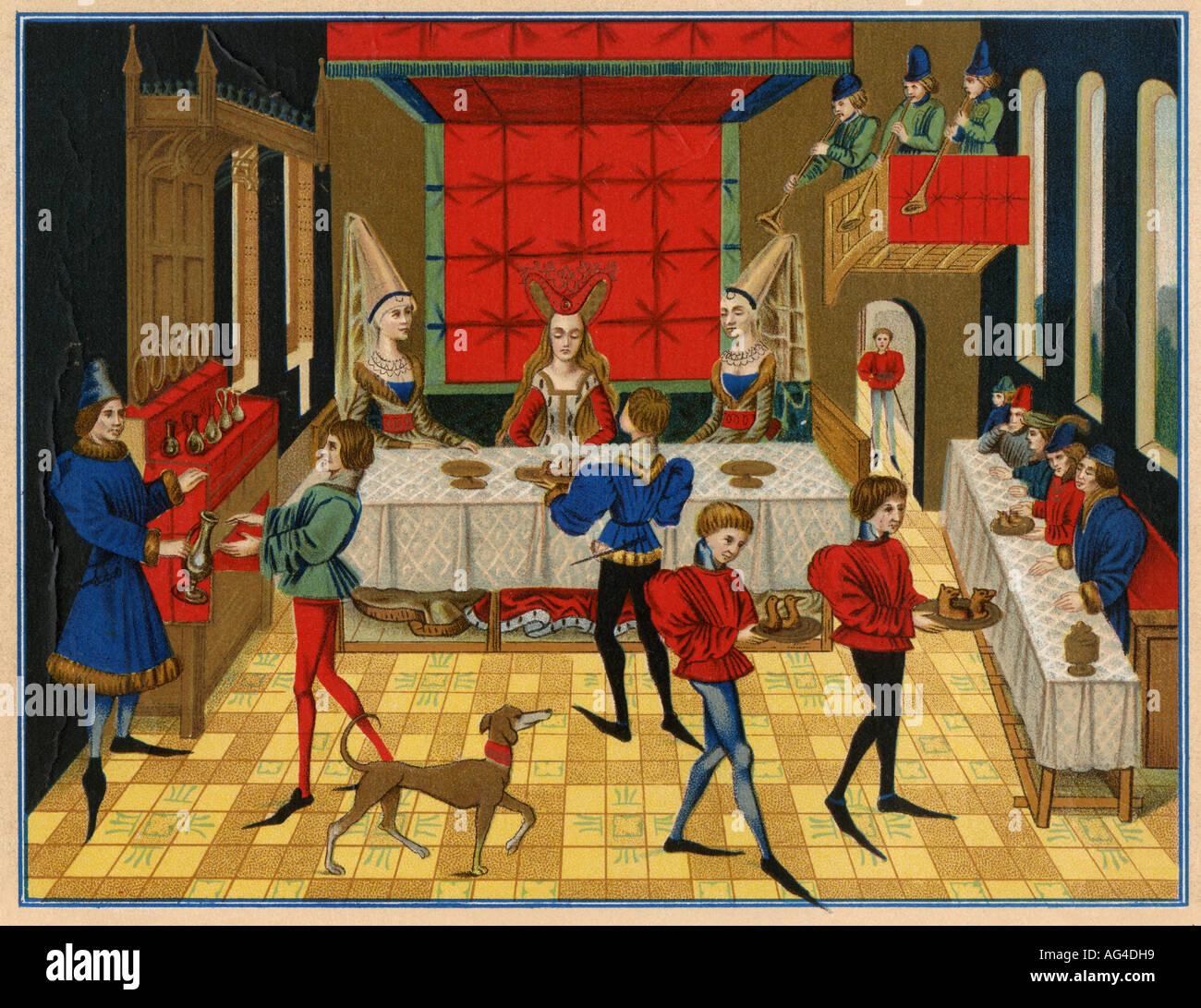 Mesa de comedor de una dama de calidad 1400s. Litografía de color Imagen De Stock