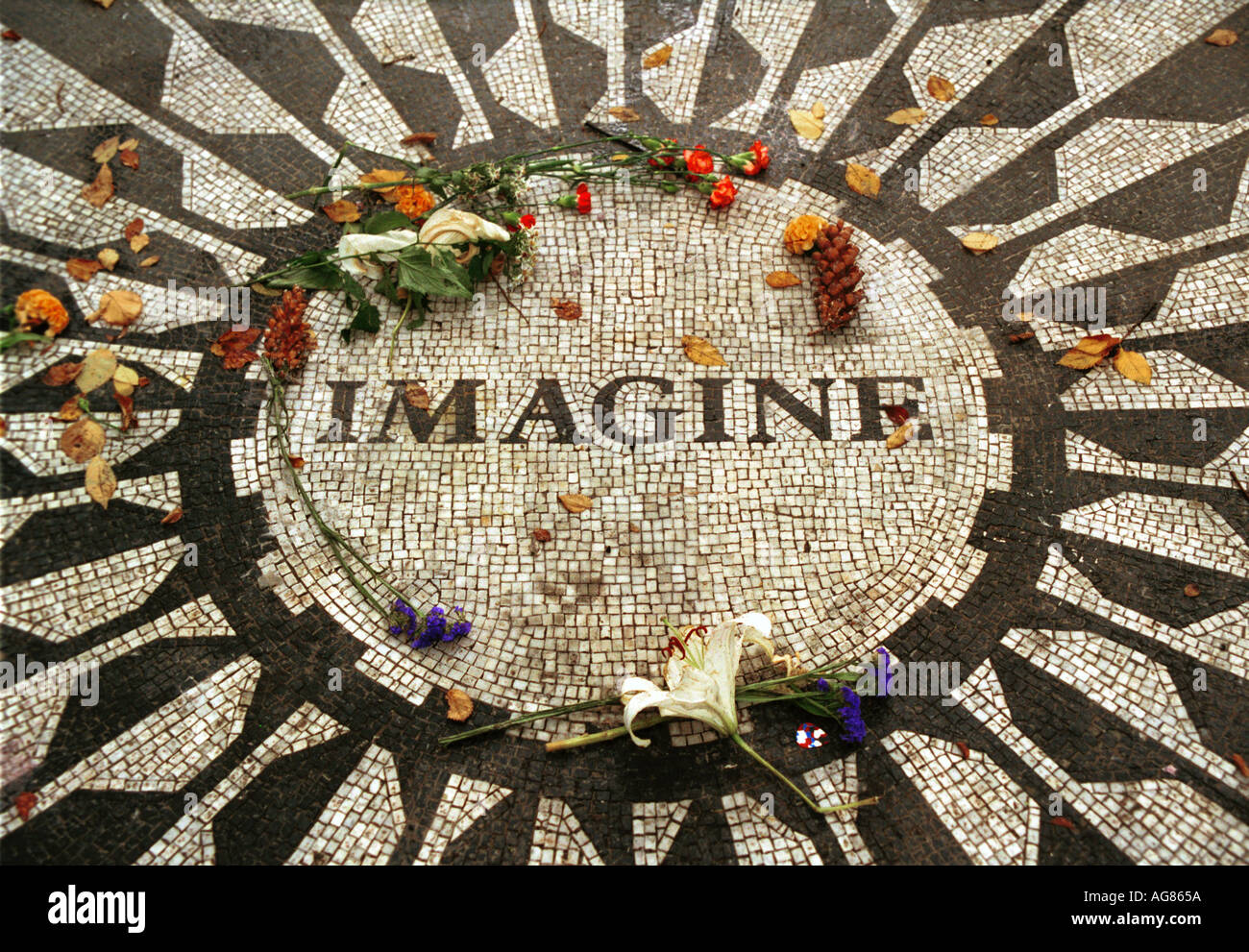 John Lennon Imagine Memorial Park Central New York City Estados Unidos Imagen De Stock