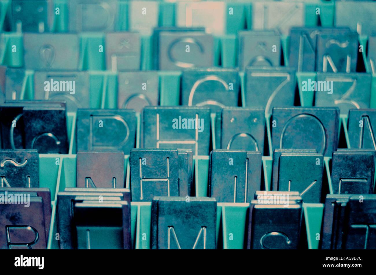 Grabado de placas del alfabeto Foto de stock