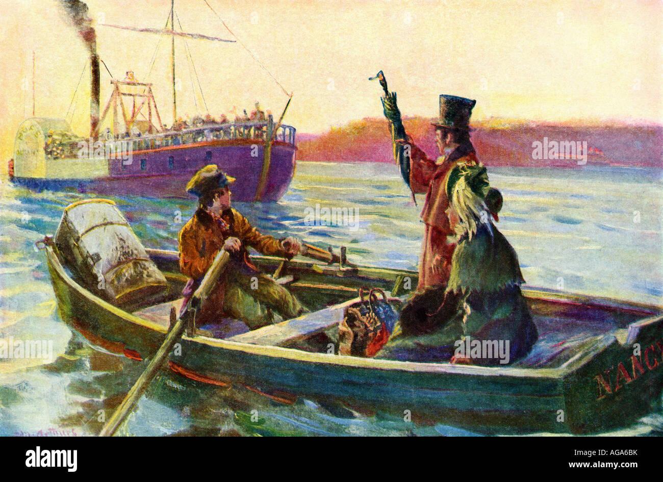 Los pasajeros procedentes de un bote a bordo de una barca de remos en medio del torrente a principios de 1800. Semitono Imagen De Stock