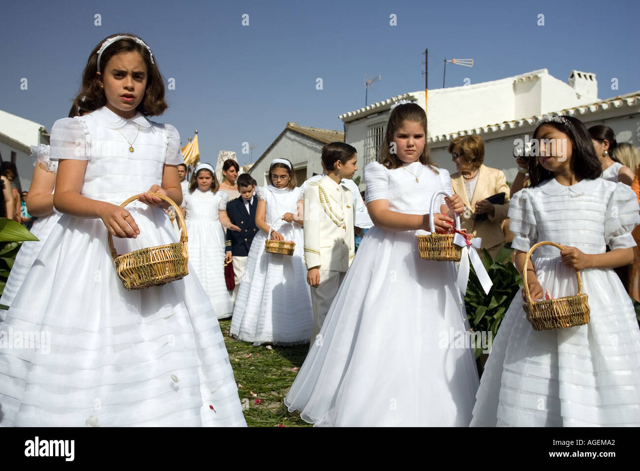 Children In First Communion Dresses Imágenes De Stock Children In