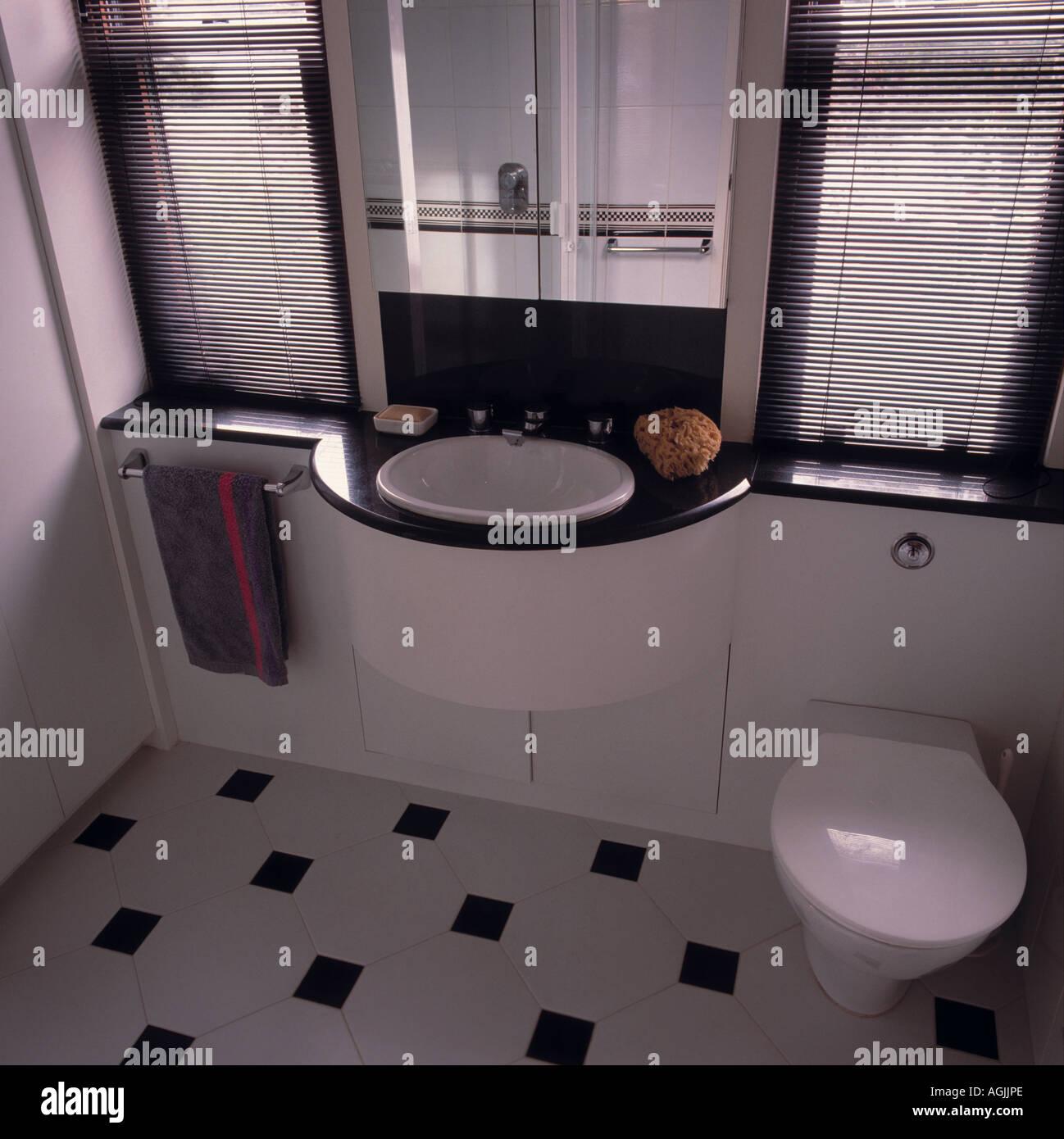 Cuarto de baño blanco y negro monocromo Foto & Imagen De Stock ...