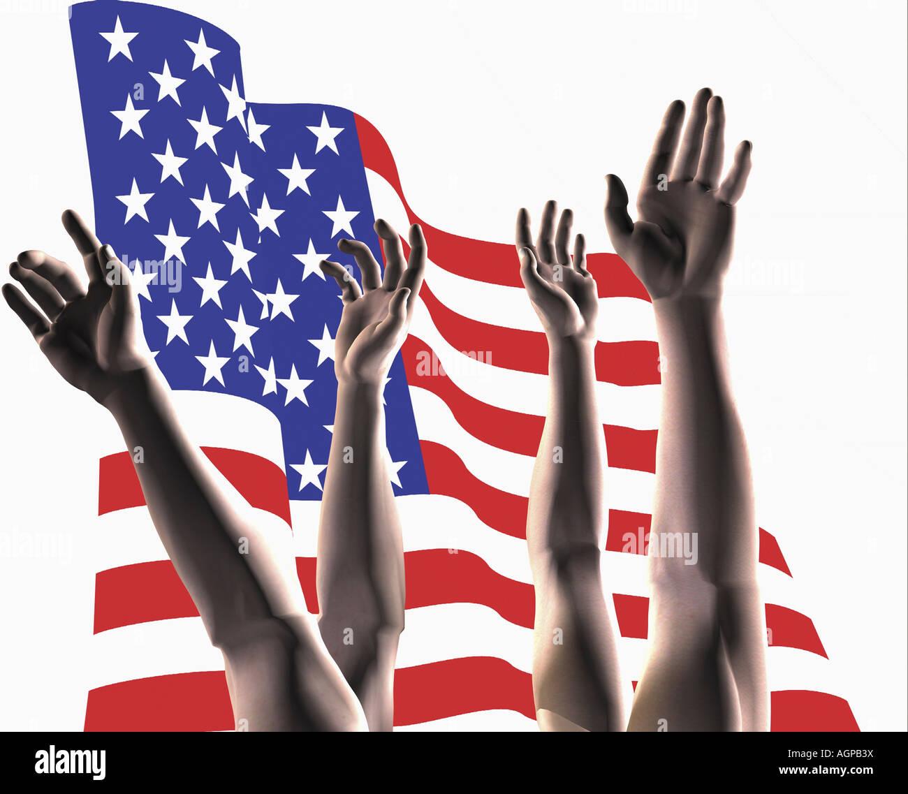 Painet JN1955 stock ilustración manos llegar enfrente de la bandera americana 11 mp digital latina con relaciones familiares Foto de stock