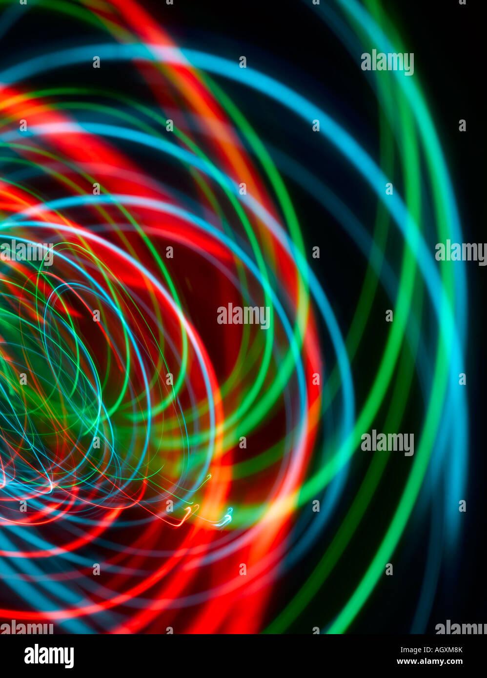 Rojo, verde y azul, el sonido o las ondas de luz Imagen De Stock