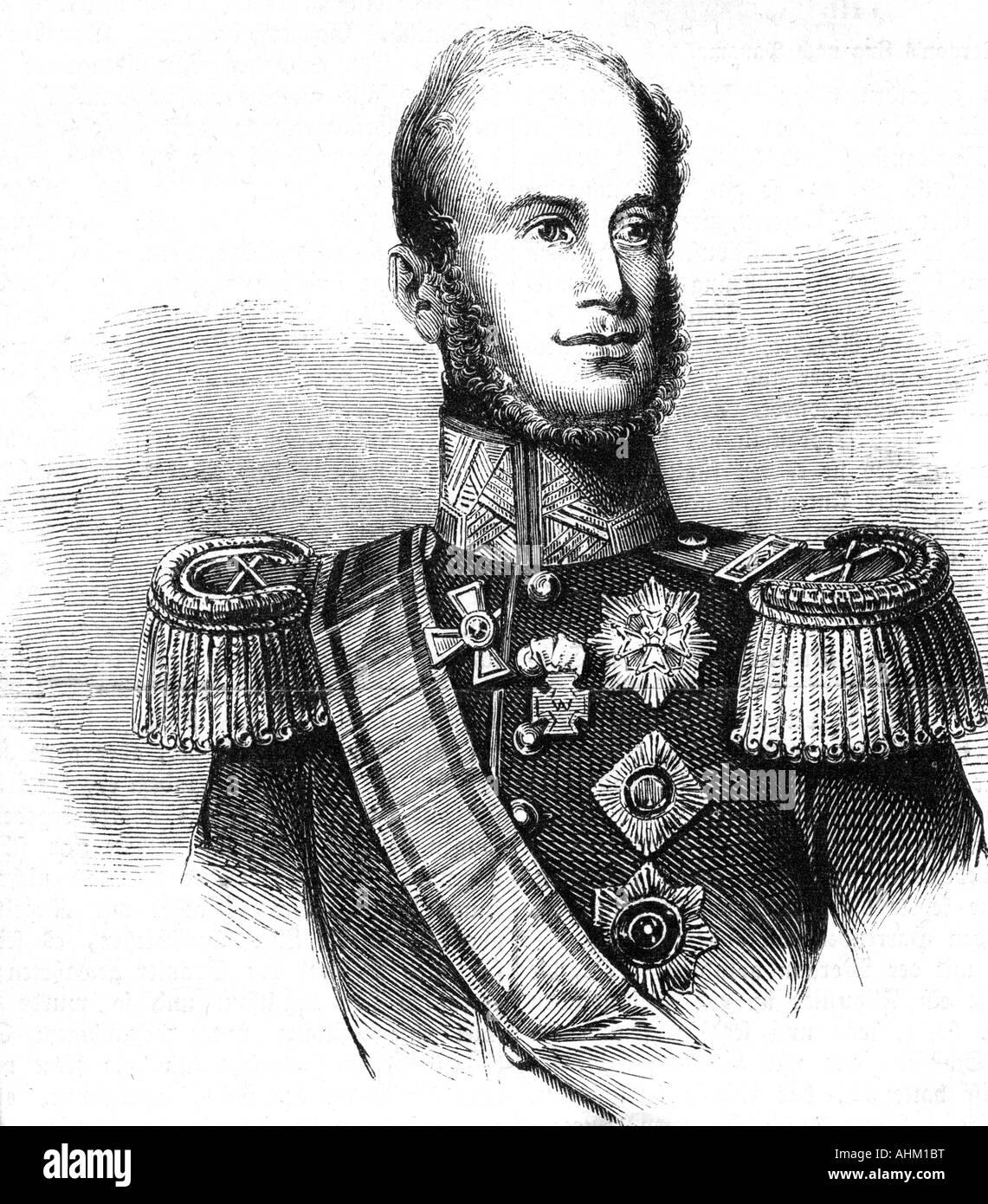 Guillermo I, 24.8.1772 - 12.12.1843, Rey de los Países Bajos 16.3.1814 - 7.10.1840, retrato, grabado, del siglo Imagen De Stock