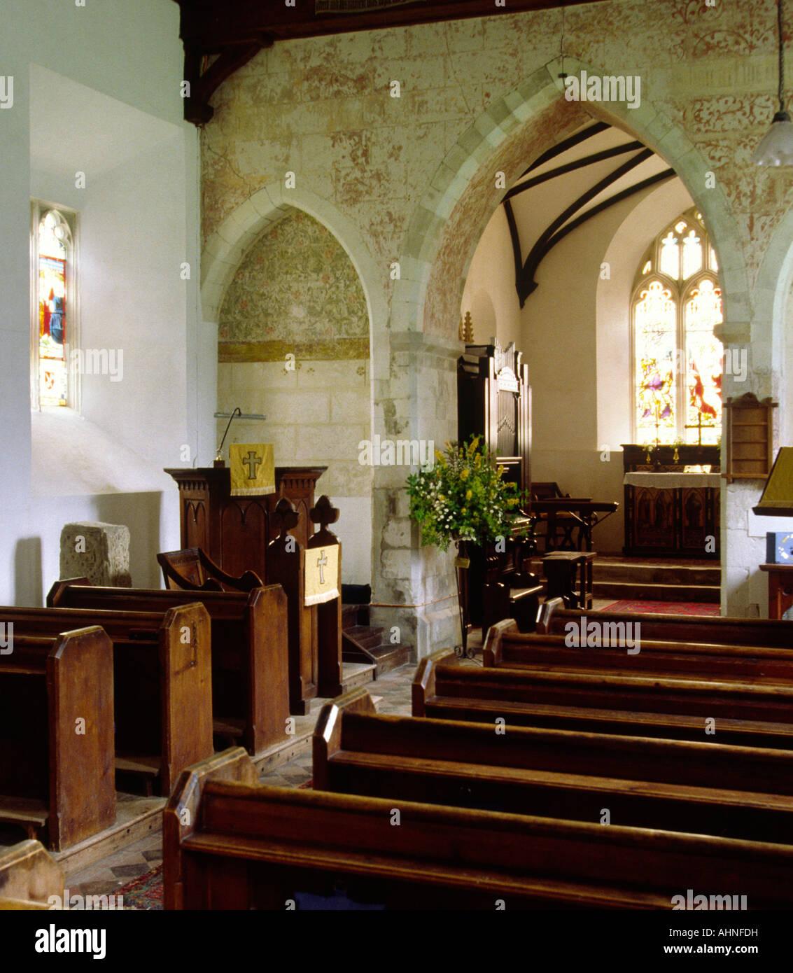 Hampshire británica Jane Austen país Steventon el interior de la iglesia de San Nicolás, donde su padre era vicario Foto de stock