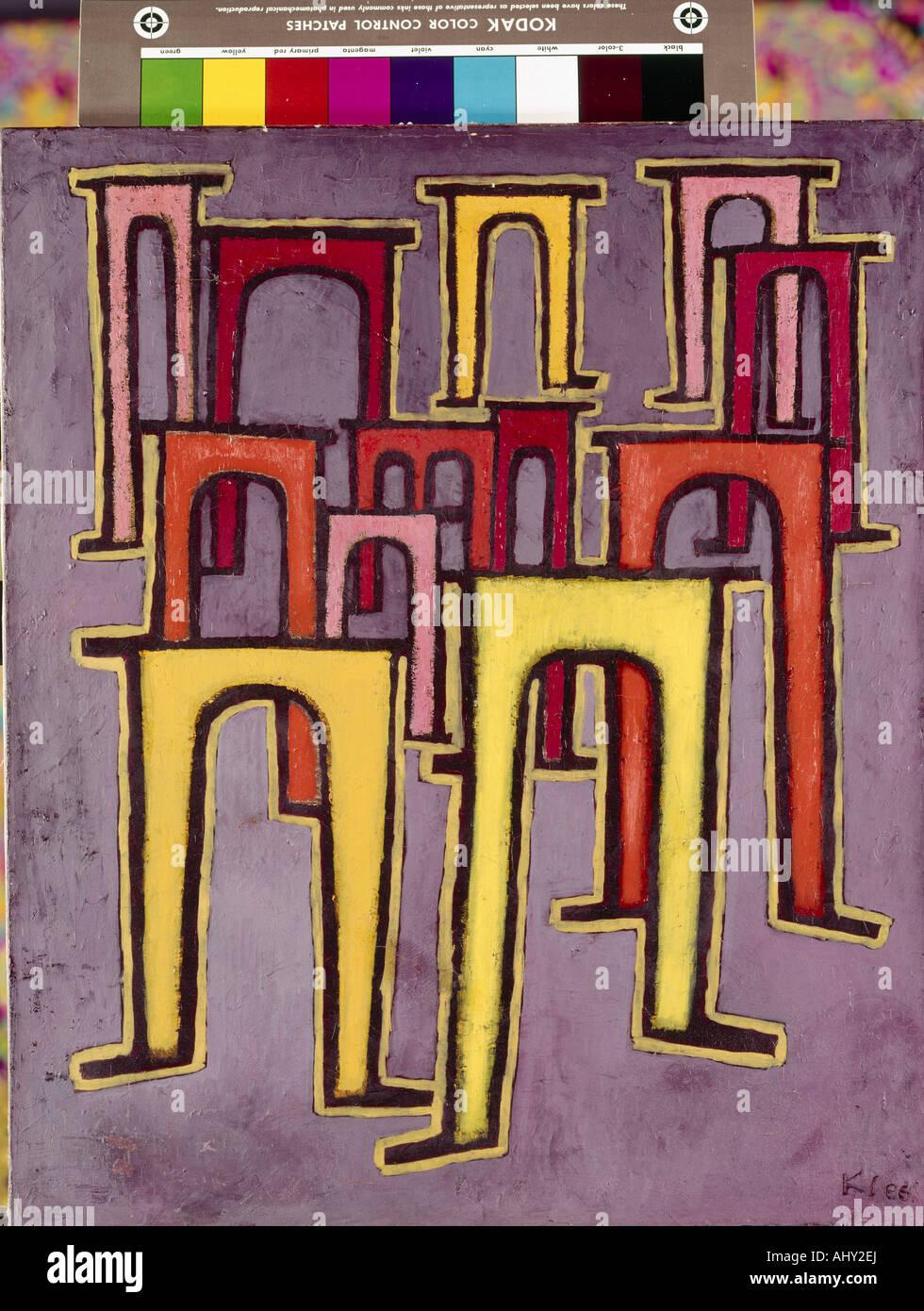 """""""Bellas Artes, Klee, Paul (1879 - 1940), la pintura, la """"Revolución des Viaduktes' ('revolución Imagen De Stock"""