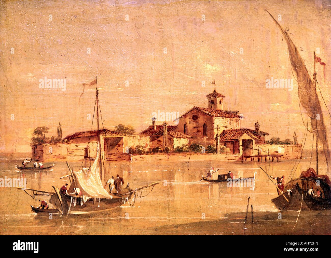 """""""Bellas Artes, Francesco Guardi, (1712 - 1793), pintura, 'L' Isola di San Giorgio a Venezia' ('San Imagen De Stock"""