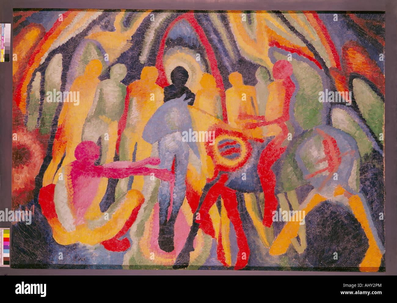 """""""Bellas Artes, Wilhelm Morgner (1891 - 1917), pintura, 'Einzug en Jerusalén"""", 1912, Museum am Imagen De Stock"""